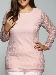 Plus Size Lace OpenworkTee