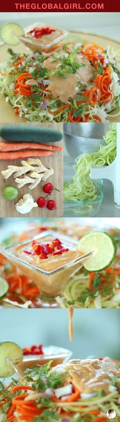 The Global Girl Raw Food Recipes: This delicious cucumber pasta with Indonesian bumbu kacang (peanut) sauce is easy, healthy and super satisfying. This exotic vegan and gluten free noodle recipe is fab for a healthy lunch or dinner. Clean eating has never been so tasty!