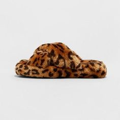Girls' Stevies #check Cross Band Leopard Print Slipper - Brown, Size: M (2-3)