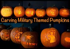 How to carve these military themed pumpkins with free stencils and templates for Army, Navy, Marine Corps, Air Force, Coast Guard and other patriotic designs. Free download.