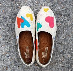 Custom TOMS shoes unique sewn felt appliqué  by BSingsCustoms
