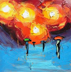 Original Oil  Rain Painting Rainy Night  Modern ART B by bsasik, $125.00