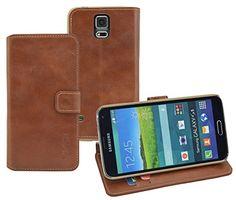 http://ift.tt/1JqX43T Book-Style Ledertasche Tasche für Samsung Galaxy S5 ECHT LEDER Handytasche Case Etui Hülle (Original Suncase) in cognac %umnuil!!%