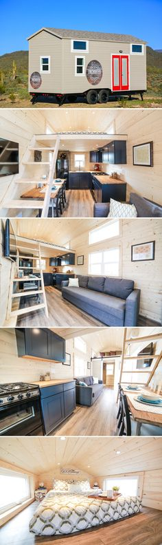 The Mansion is a 24' tiny house and comes equipped with two bedroom lofts, a dining table/desk, and a 64-square-foot L-shaped kitchen.