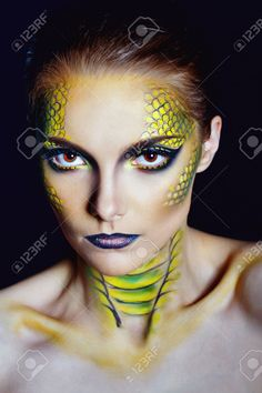 Attractive Young Woman In Makeup Snake Shot In The Studio Stock Photo, Picture And Royalty Free Image. Maquillaje Halloween, Halloween Makeup, Halloween House, Halloween 2018, Halloween Stuff, Happy Halloween, Halloween Costumes, Best Beauty Tips, Beauty Hacks