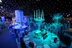 Crystal candelabras, black starcloth charity ball, narnia themed @TheAngelsEvents