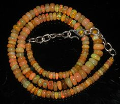 "81 Crts 1 Necklace 4to7mm 16"" Beads Natural Ethiopian Welo Fire  Opal  64914"