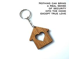 Wooden Hearted Home Keychain Personalized House by MemorableLand