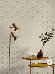This beautiful Honeycomb Bee Wallpaper will add a stylish finishing touch to your home. The design features a metallic gold geometric honeycomb style pattern of interlocking octagon shapes with diamonds inside and a gold bee motif in the centre. This is set on a soft taupe background with a smooth matte finish. Easy to apply, this high quality wallpaper would look great when used to create a feature wall or to decorate an entire room Animal Print Wallpaper, Paper Wallpaper, Bee Theme, High Quality Wallpapers, Stuffed Animal Patterns, Honeycomb, Pattern Fashion, Taupe, Wall Lights
