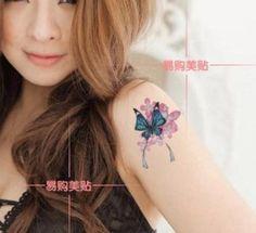 Sexy Frauen Schmetterling Totem Tattoo Aufkleber , Arm Waterproof Temporary Tattoos , 14 Modelle 10sheet / Von