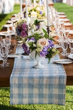 Simple blue gingham table runners with lush flowers and taper candles, via Carats & Cake Gingham Wedding, Gingham Party, Blue Gingham, Camp Wedding, Summer Wedding, Wedding Tables, Wedding Reception, Dream Wedding, Tablecloth Inspiration