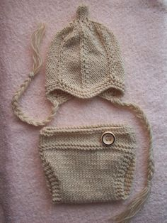 FREE SHIPPING Beige newborn/ baby hat and diaper by MarysKnits, $26.00