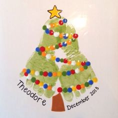 christmas crafts for toddlers Footprint Christmas Tree Painting. Preschool Christmas, Christmas Activities, Christmas Crafts For Kids, Baby Crafts, Toddler Crafts, Christmas Projects, Holiday Crafts, Christmas Decorations, Christmas Ornaments