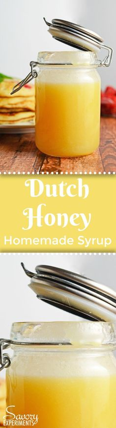 Dutch Honey Syrup Recipe is an easy homemade syrup for pancakes, waffles, French toast, biscuits or even vanilla ice cream! #homemadesyrup #dutchhoney www.savoryexperiments.com