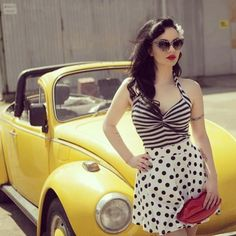 Try something new!! Stripes and Polka Dots:: Pretty in Polka Dots:: Pin Up Girl Fashion:: Retro:: Vintage Style