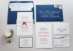 Nautical Inspired invites. Love the script font used for the names and the simplicity of the main invite.