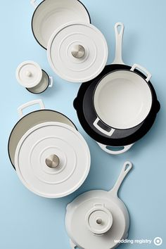 Threshold Enameled Cast Iron is one-pot-dinner perfect—from oven to stove to table. This wedding registry must-have is good for practically everything: braising, baking, roasting, searing, sautéing and lots more. And with the beautiful enamel finish, it's just begging you to put it on display. There are different sizes and 12 colors to choose from. Take your pick.