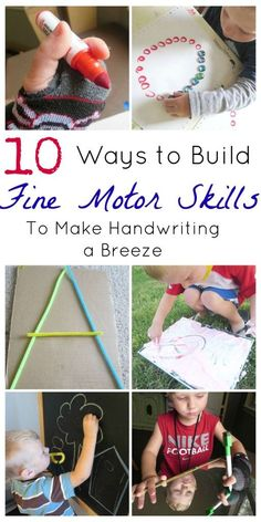 Learning to write doesn't have to be a chore. Make it fun with these fine motor skills to develop better handwriting in preschoolers! Fine Motor Activities For Kids, Motor Skills Activities, Gross Motor Skills, Sensory Activities, Learning Activities, Preschool Activities, Sensory Kids, Preschool Centers, Preschool Curriculum
