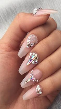 Get the revolutionary PolyGel Nail Kit to have beautiful looking nails for unique you. It is non-acrylic and anti-odor nail kit giving you a unique touch. Polygel Nails, Bling Nails, Nude Nails, Coffin Nails, White Nails, Bling Nail Art, Gems On Nails, Cardi B Nails, Fancy Nail Art
