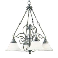 Give any room in your home a sophisticated update with this striking glass chandelier. This unique solid steel four-light chandelier features an antique pewter scroll design that is beautifully accented with four individual frosted glass shades.
