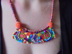 Colorful neon statement bib necklace boho chic by LLiLLiRuas, $35.00