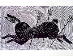 Running Rabbit by Meriç Karabulut, via Behance Running Drawing, Running Art, Rabbit Run, Fox And Rabbit, Linocut Artists, Hare Illustration, Tattoo Coloring Book, Animal Movement, Rabbit Drawing