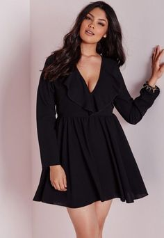 Plus Size Frill Swing Dress