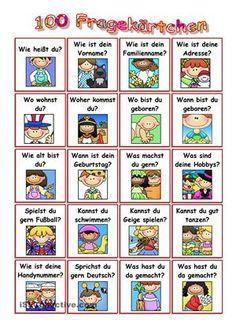 100 Fragen zu verschiedenen Themen - die Kärtchen können ausgeschnitten und laminiert werden. Dann kann das Spiel losgehen! - DaF Arbeitsblätter