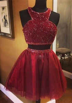 Uhc0078, homecoming dresses,short ,burgundy ,beading ,halter homecoming dresses,two pieces