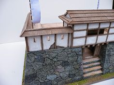 I'll show you another little commission that was done awhile ago. It's a wajo, which was generally a small fort in Korea made by the invad. Japanese Castle, Japanese House, Temporary Structures, Japanese Architecture, White Paneling, Acrylic Box, Old Buildings, Decoration, Samurai