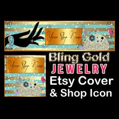 BLING GOLD JEWELRY Etsy Large Cover Banner Set by StylePointDesign