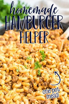 Homemade Hamburger Helper is a delicious cheeseburger pasta skillet made with ground beef, cheddar cheese, and pasta. Creamy, cheesy, hearty, and a family favorite. This one pot, homemade version is rich and cheesy and tastes better than the boxed version! #onepot #skilletmeal Entree Recipes, Grilling Recipes, Easy Dinner Recipes, Beef Recipes, Great Recipes, Easy Family Meals, Easy Weeknight Meals, One Pot Meals, Cheeseburger Pasta