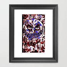 neon smiley face  Framed Art Print by seb mcnulty - $32.00