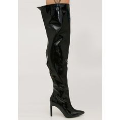Patent Thigh High Black Boots (3.070 RUB) ❤ liked on Polyvore featuring shoes, boots, thigh-high boots, high heel stilettos, black over-the-knee boots, over-knee boots and thigh high stiletto boots