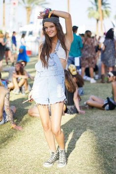 Music festival outfit: overall cutoffs + Converse