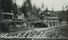 Finnish soldiers are salvaging captured m 1935 tank. The towing tractor that they are using is McCormick (Photo source Pala Suomen Historiaa website). Ww2 Tanks, Red Army, Armored Vehicles, World War Two, Troops, Military Vehicles, Wwii, Tractors, History