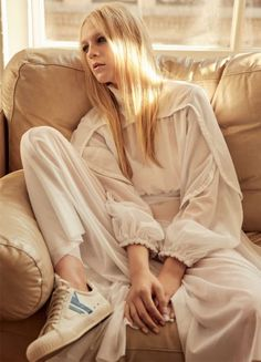 Emilie Evander for Marie Claire UK February 2017 by David Roemer - Celine silk jersey dress and shoes