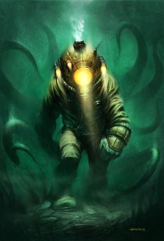 "Again with the steampunk thing. A bit of the old ""20,000 Leagues Under the Sea"". Our explorer investigates the depths of the sea in search of a sunken vessel rumored to hold a fortune in treasure. ..."