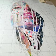 Patrick Bremer creates an extraordinary collage of layers of pages of magazines, books and newspapers. British artist comes up with the portraits and the whole scene, adding the strips and pieces of paper.