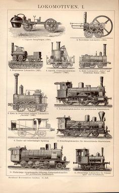 1898 Locomotives Antique Print Vintage Lithograph por Craftissimo