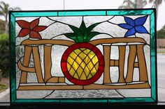 Aloha & Pineapple Stained Glass Window Panel  (We do custom work! Please email me for a quick quote) by ArtGlassWindows on Etsy https://www.etsy.com/listing/196153627/aloha-pineapple-stained-glass-window