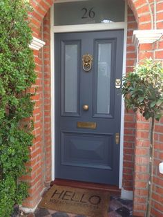 Gorgeous Victorian front door in Farrow & Ball's Downpipe with Voysey & Jones Vi. - Gorgeous Victorian front door in Farrow & Ball's Downpipe with Voysey & Jones Vintage door furnit - Farrow Ball, Front Door Farrow And Ball, House Front Door, Bay Tree Front Door, Best Front Door Colors, Best Front Doors, Victorian Front Doors, Victorian Homes, Vintage Doors