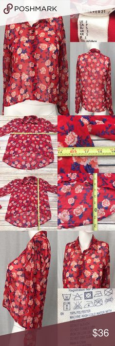 🍭Small Forever 21 Floral Hi/ Low Sheer Button Up Measurements are in photos. Normal wash wear, no flaws. C3/26  I do not comment to my buyers after purchases, do to their privacy. If you would like any reassurance after your purchase that I did receive your order, please feel free to comment on the listing and I will promptly respond. I ship everyday and I always package safely. Thanks! Forever 21 Tops Button Down Shirts
