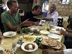 Roger Sherman's Florentine Films crew chowing down at El Babor restaurant in the Haifa area. Photo courtesy of Florentine Films