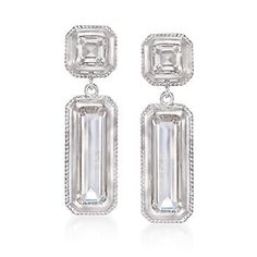 "Ross-Simons - Monica Rich Kosann Mosaic Rock Crystal Drop Earrings in Sterling Silver and 18kt Gold. 1 1/8"" - #867098"