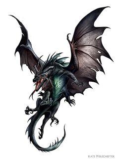 "Half black dragon, half basilisk creature painted for Paizo Pathfinder's ""Reign of Winter"" Adventure Path. (c) Paizo Publishing"