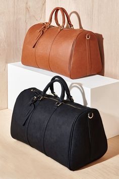 Vegan leather weekender bag in cognac and black | Sole Society Cassidy