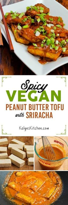 Spicy Vegan Peanut Butter Tofu is so delicious that this is a dish even tofu-avoiders will like, and if you choose the right ingredients it's not only vegan but also low-carb, gluten-free, and South B Veggie Recipes, Asian Recipes, Whole Food Recipes, Vegetarian Recipes, Cooking Recipes, Healthy Recipes, Tofu Dishes, Vegan Dishes, Vegan Peanut Butter