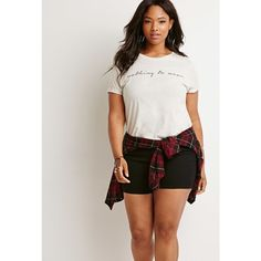 Forever 21 Plus Nothing to Wear Tee featuring polyvore, fashion, clothing, tops, t-shirts, short sleeve tops, round neck t shirt, short sleeve tees, short sleeve graphic tees and graphic design tees