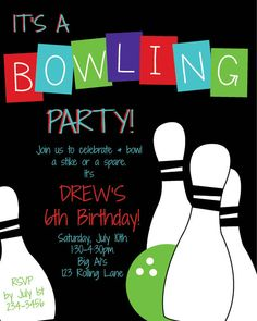 Bowling Birthday Party Invitation Bowling Party by Onthegoprints